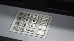 Buttons and protective flashing receiver of credit cards in some ATM Stock Footage