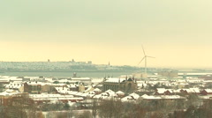 Looking out over snow covered city (2) Stock Footage