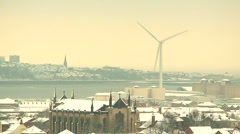 Looking out over snow covered city (3) - stock footage