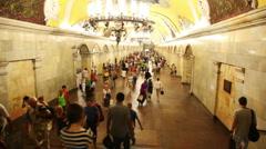 People at subway station Komsomolskaya Stock Footage