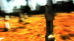 Camera Circles Surreal Cross In Graveyard (Fast Motion) 2 - stock footage