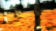 Camera Circles Surreal Cross In Graveyard (Fast Motion) 2 Stock Footage
