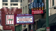 Beale st, blues city cafe neon sign Stock Footage