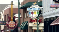 Beale st, hard rock and wet willies neon signs Stock Footage