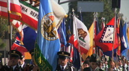 JROTC flags- Martin Luther King Parade - Los Angeles 2011 Stock Footage