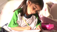 Girl HomeWork 2 - stock footage