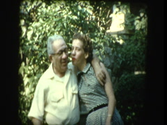 50s family posing and goofing off for camera Stock Footage