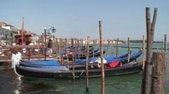 Moored Venice Gondolas Stock Footage