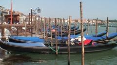 Gondolas Moored in Central Venice Stock Footage