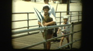 50's Family goes to the beach Stock Footage