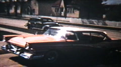 Old Cars Backing Up  (1964 Vintage 8mm film) Stock Footage
