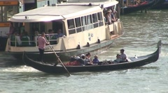 Venice Gondola and Passenger Bus Stock Footage
