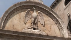 Bird Carved in Stone Stock Footage