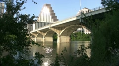 Bridge Over Colorado River In Austin Texas Stock Footage