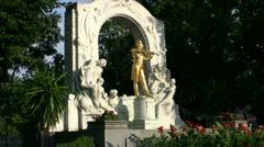Johann Strauss Statue In Vienna Austria Stock Footage