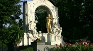 Stock Video Footage of Johann Strauss Statue In Vienna Austria