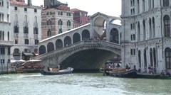 Ponte di Rialto and Boat Stock Footage