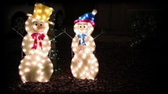 Snowmen winter holiday decorations Stock Footage