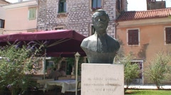 Juraj Dobrila Statue and Garden Stock Footage