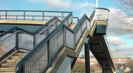 Stock Video Footage of Nautical styled urban footbridge with concrete steps
