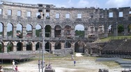 Pula Amphitheatre Interior Stock Footage