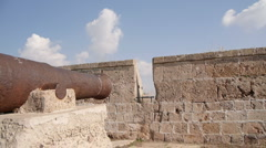 Acre fortress cannon P1 - stock footage
