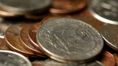 Macro shot of coins rotating Stock Footage