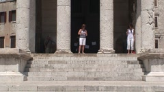 Pula Temple of Augustus Stock Footage