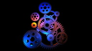 Stock Video Footage of Rotating gears loop