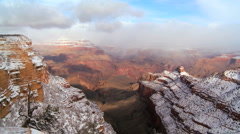 Clouds Over Grand Canyon Snow Stock Footage