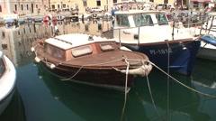 Boats in Piran Marina Stock Footage