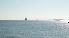 Boat and ships in the ocean Stock Footage