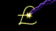 GOLD POUND SIGN,Electric arc draws golden Pound sign on black background. Stock Footage
