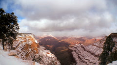 Time-lapse Clouds Over Grand Canyon Snow Stock Footage