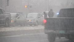 Snowstorm highway 5 Stock Footage