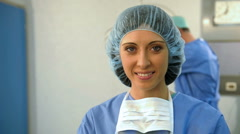 Portrait of A Smiling Female Surgeon Stock Footage