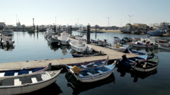 Dock marina with fishing boats - stock footage