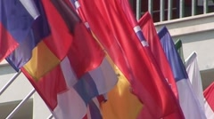 Many European Flags Stock Footage