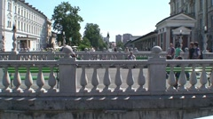 Triple Bridge over the River Ljubljanica - stock footage