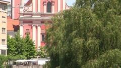 Ljubljana Church and River Stock Footage