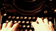 Typing with old typewriter Stock Footage