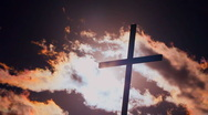 Church Cross Flaming Clouds Stock Footage
