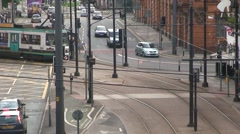 Tram Crossing Road Stock Footage