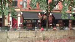 Manchester Canal Street & Canal Stock Footage