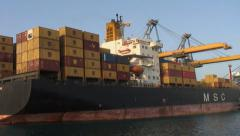 Container ship in Port Sudan, moving shot Stock Footage
