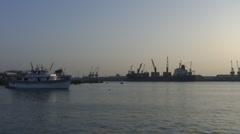 Port Sudan Port at dawn Stock Footage