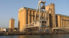 Port Sudan port crane silo Stock Footage