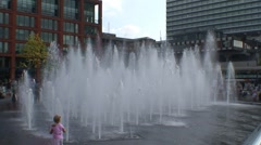 Piccadilly Gardens Water Feature Stock Footage