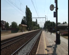 Train station, empty arrival platform outside Stock Footage