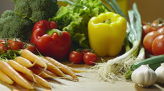 Tomatoes, carrots, bell peppers and other vegetables Stock Footage